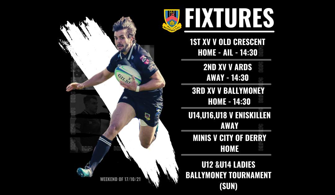 Fixtures: Weekend 17/10/21